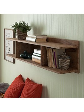 Sheesham Wood Open Storage Wall Shelf (Honey)