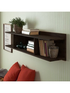 Sheesham Wood Open Storage Wall Shelf (Walnut)