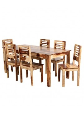 Sheesham Wood 6 Seater Dining Set  (Natural Finish)