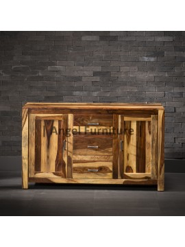 Angel Furniture Ajmeri Solid Sheesham Wood Sideboard Teak Finish, with Drawer and Cabinet Storage