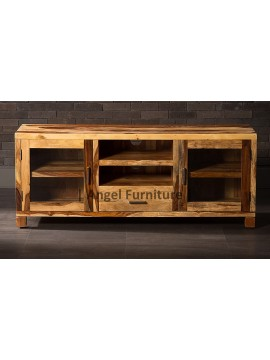 Angel Furniture Natural Solid Sheesham Wood Jodhpuri tv Unit Teak Finish - 1.5Mtr