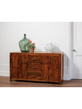 Angel Furniture Kunsua Solid Wood Side Board with Drawer Storage Teak Finish