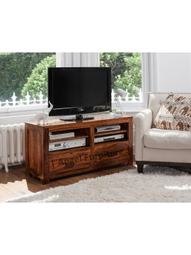 Angel Furniture Solid Sheesham Wood Tv Unit with Two Drawer and Open Storage Area - Teak Finish