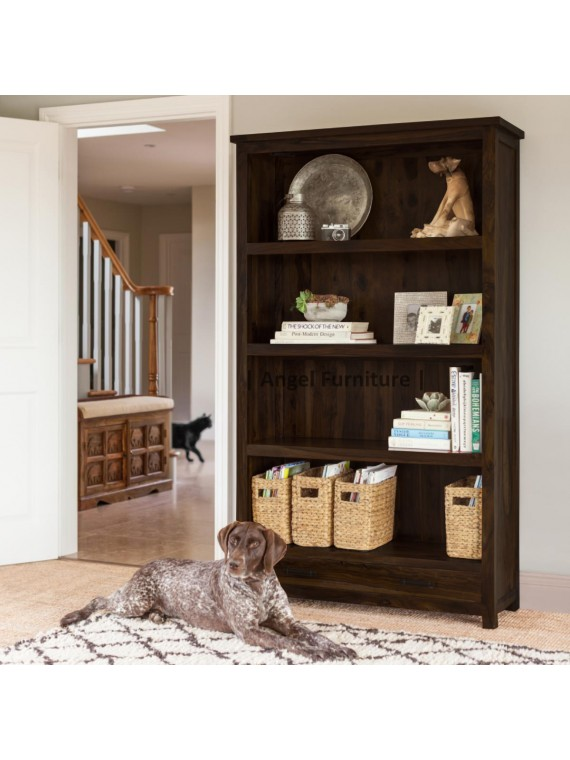 Angel's Solid Sheesham Wood Bookshelf Large with Two Drawer (Full Size, Walnut Finish)