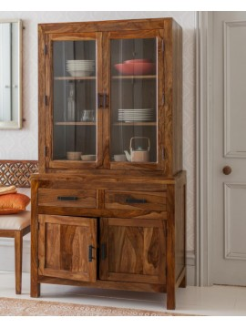 Angel Furniture Solid Sheesham Wood Crockery Cabinet | Kitchen Cabinet | Storage Unit (Full, Honey Finish)