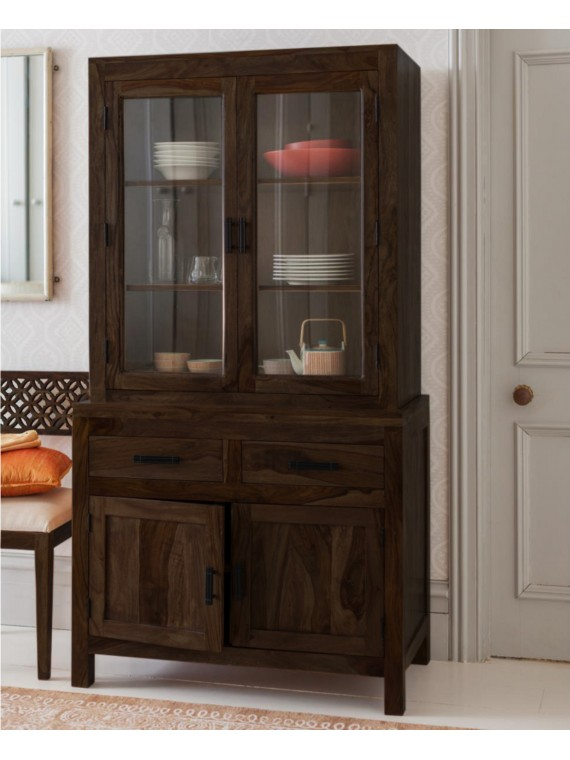 Angel Furniture Solid Sheesham Wood Crockery Cabinet Kitchen Storage Unit Full Walnut Finish
