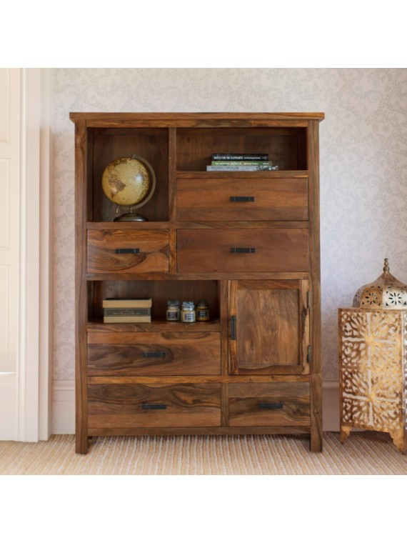 Angel Furniture Solid Sheesham Wood Vertical Storage Cabinet Large (Standard, Honey Finish)