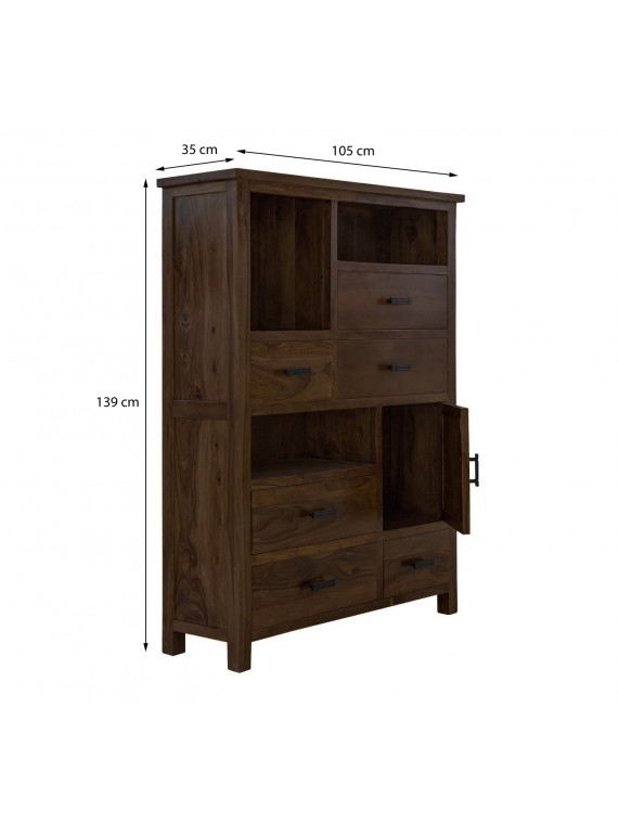 Angel Furniture Solid Sheesham Wood Vertical Storage Cabinet Large (Standard, Walnut Finish)