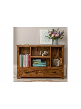 Angel Furniture Solid Sheesham Wood Space Saver Symmetric Bookcase (Standard, Honey Finish)
