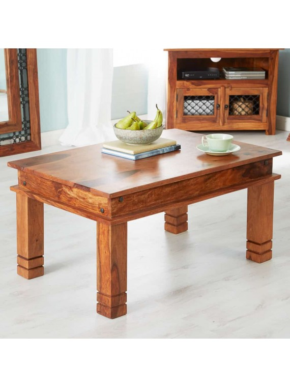 Angel Furniture Solid Sheesham Wood Classic Coffee Table (Standard, Honey Finish)