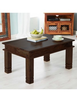 Angel Furniture Solid Sheesham Wood Classic Coffee Table (Standard, Walnut Finish)