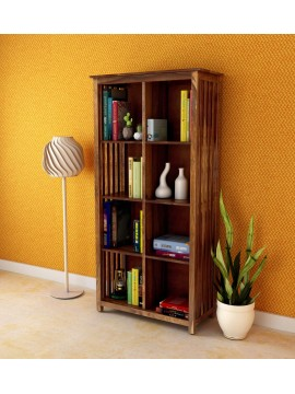 Angel Furniture Solid Sheesham Wood Large Vertical Bookshelf Strip Design (Standard, Honey Finish)