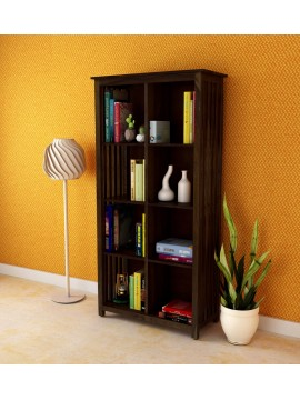 Angel Furniture Solid Sheesham Wood Large Vertical Bookshelf Strip Design (Standard, Walnut Finish)