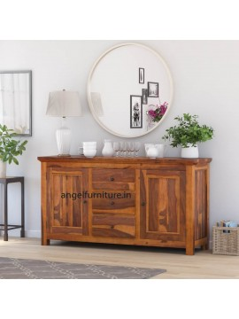 Angel Furniture Solid Sheesham Wood Large Side Board with Three Drawer (Standard, Honey Finish)
