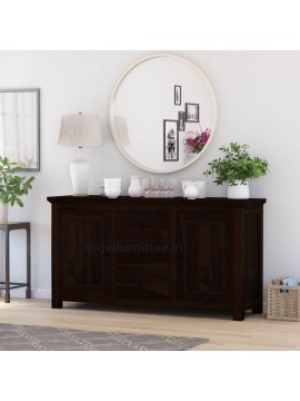 Angel Furniture Solid Sheesham Wood Large Side Board with Three Drawer (Standard, Walnut Finish)