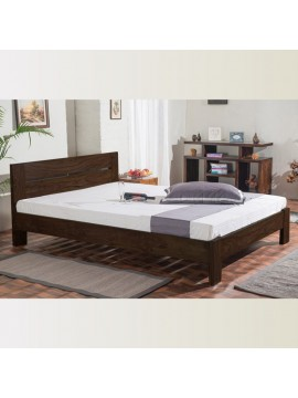 Mayfield Sheesham Wood Queen Size Platform Non Storage Bed (Walnut)