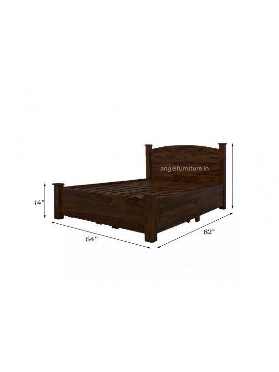 Angel Furniture Jodhpuri Solid Sheesham Wood Double Bed Storage Queen Size (Standard, Walnut Finish)