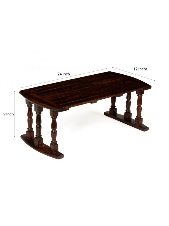 Sheesham Wood Breakfast Serving Bed Table / Laptop Table 24X12X9 Inch LxWxH in Walnut Finish