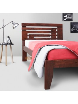 Livingston Solid Sheesham Wood Handmade Modern Single bed (Honey)