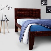 Rotorua Solid Sheesham Wood Handmade Modern Single bed (Walnut)