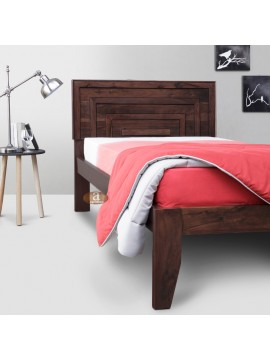 Lacrose Solid Sheesham Wood Handmade Modern Single bed (Walnut)