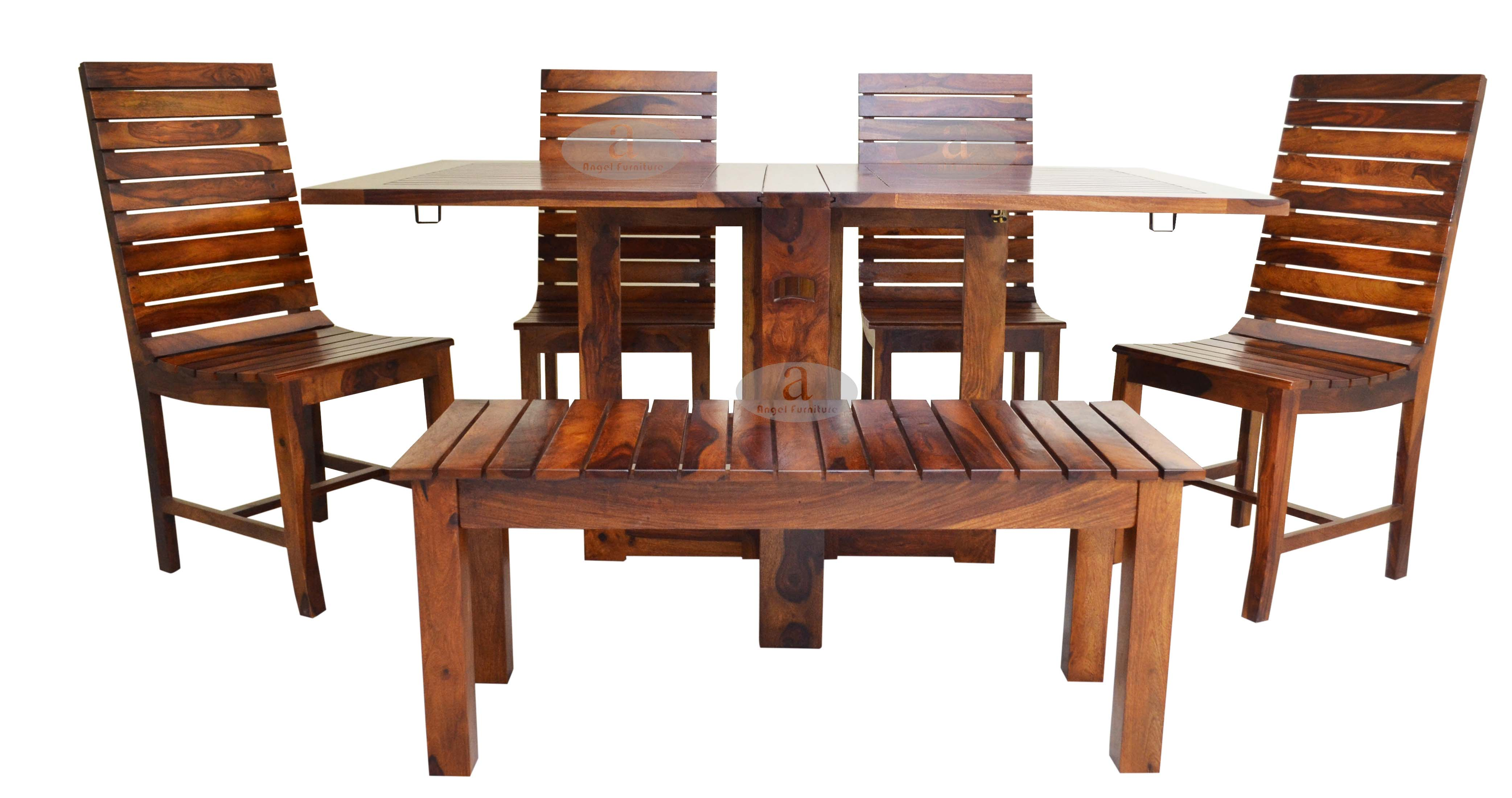 Angel s Stripped Design Four Seater Dining Set With Foldable Dining