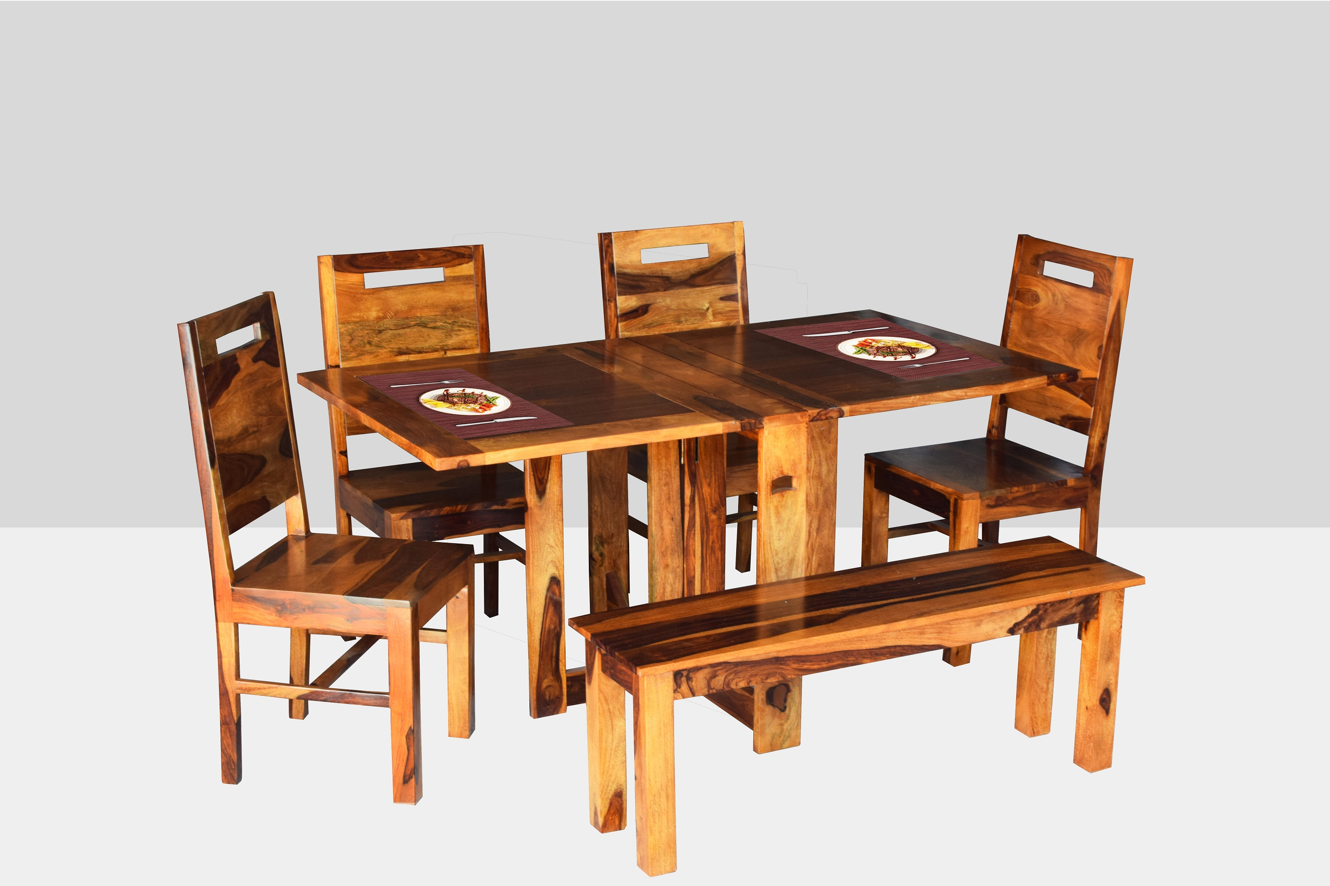 39b640bb9 Angel s Solid Sheesham Wood Six Seater Dining Set with Folding Table and  Bench (Six Seater